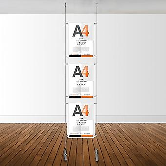 3 Pocket A4 Ceiling To Floor Poster Cable Kit - Portrait