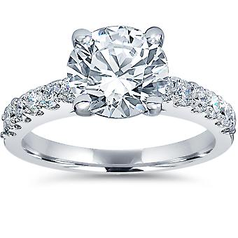 2 ct TDW Diamond Engagement Ring Solitaire With Accents 14K White Gold