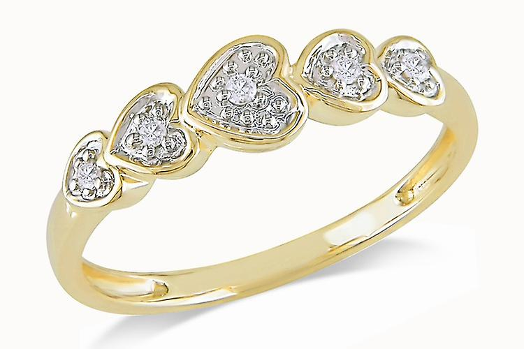 Affici Sterling Silver Semi Eternity Ring 18ct Yellow Gold Plated ~ Hearts with Diamond CZ Gems