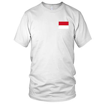 Indonesia Country National Flag - Embroidered Logo - 100% Cotton T-Shirt Ladies T Shirt
