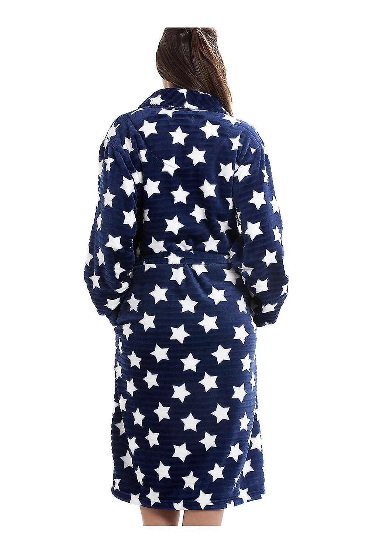 4f361a9a Camille Navy blå super Velour Fleece hvit stjerne ut sjal krage badekåpe