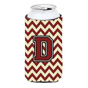 Letter D Chevron Maroon and Gold Tall Boy Beverage Insulator Hugger