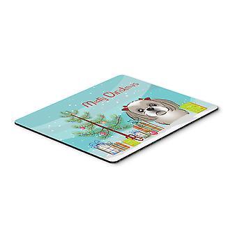 Albero di Natale e grigio argento Shih Tzu Mouse Pad, Pad caldo o sottopentola