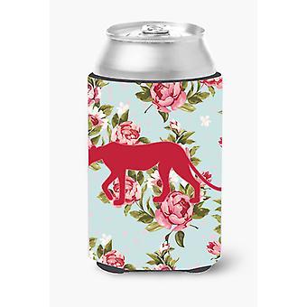 Leopardo Shabby Chic rosas azules pueden o botella de bebida aislador Hugger BB1004