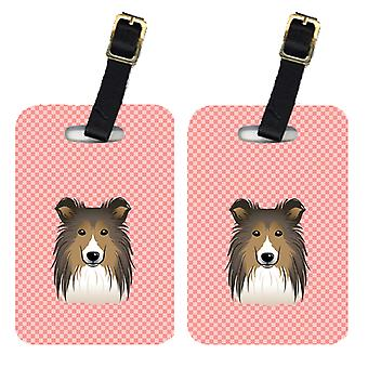 Carolines Treasures  BB1242BT Pair of Checkerboard Pink Sheltie Luggage Tags