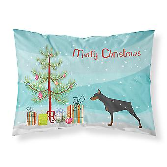 Doberman Pinscher Merry Christmas Tree Fabric Standard Pillowcase