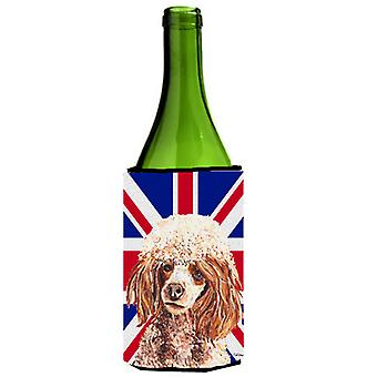 Red Miniature Poodle with English Union Jack British Flag Wine Bottle Beverage I