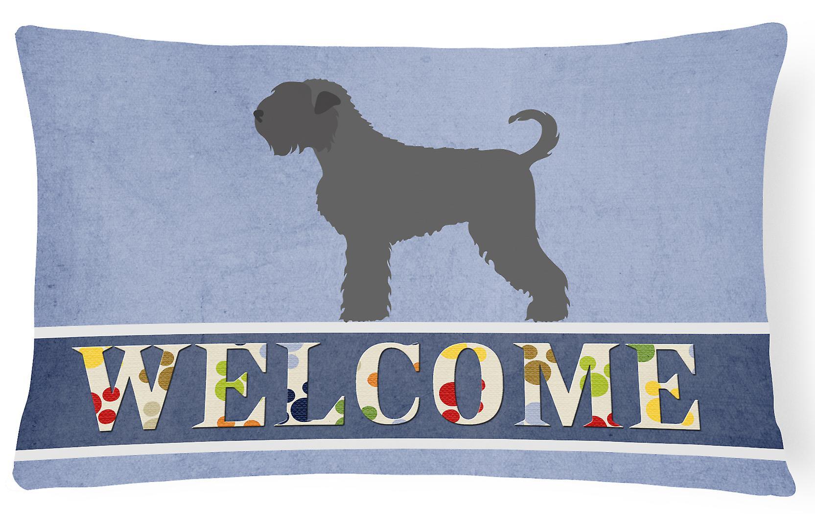 Black Russian Pillow Fabric Welcome Canvas Terrier Decorative PNwn0O8kXZ