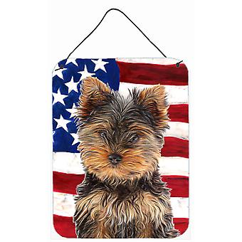 USA American Flag with Yorkie Puppy / Yorkshire Terrier Wall or Door Hanging Pri
