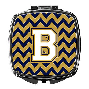 Letter B Chevron Navy Blue and Gold Compact Mirror
