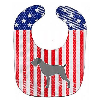 Carolines Treasures  BB3311BIB USA Patriotic German Wirehaired Pointer Baby Bib