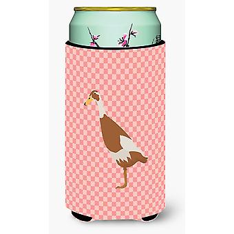 Indian Runner Duck Pink Check Tall Boy Beverage Insulator Hugger