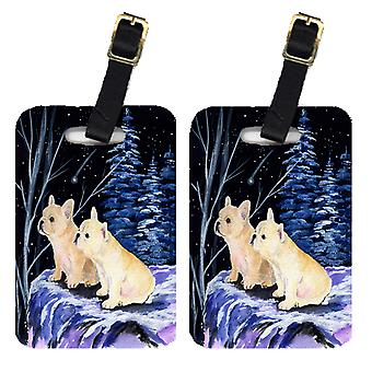 Carolines Treasures  SS8395BT Starry Night French Bulldog Luggage Tags Pair of 2