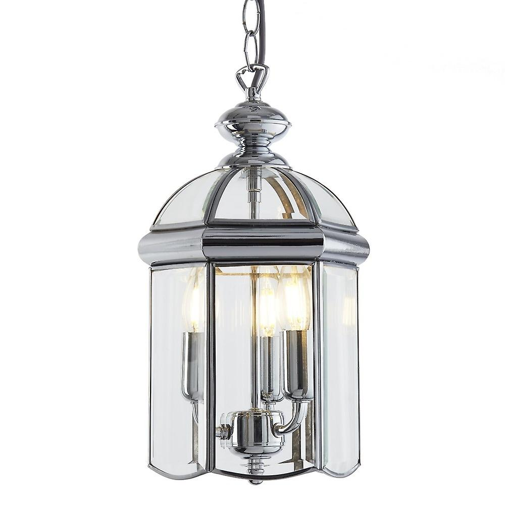 Searchlight 5133CC Solid Brass Chrome Finish 3 Light Lantern