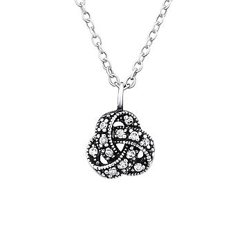 Celtic Knot - 925 Sterling Silver Jewelled Necklaces - W32088X