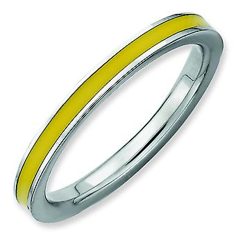Sterling Silver Polished Rhodium-plated Stackable Expressions Yellow Enameled 2.25mm Ring - Ring Size: 5 to 10
