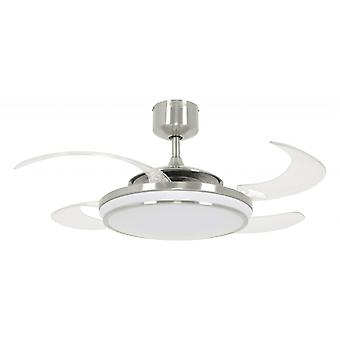 Ceiling fan Fanaway LED EVO1 dimmable Chrome brushed with retractable blades 122 cm / 48