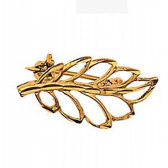 9ct Gold 30x14mm plain Leaf Brooch
