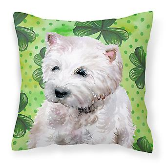 Carolines Treasures  BB9875PW1414 Westie St Patrick's Fabric Decorative Pillow