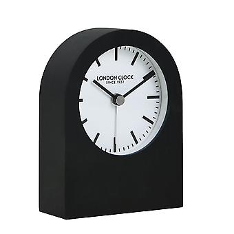 Titanium Phantom Brushed Black Arch Metal Mantel Clock