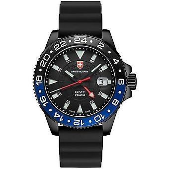 Swiss military mens watch GMT Nero scuba 27761