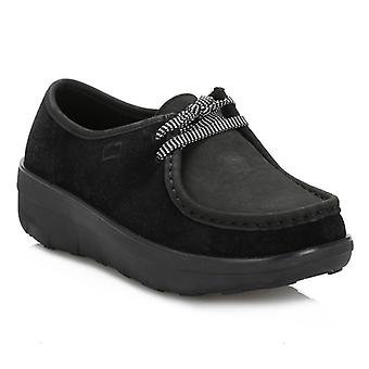 FitFlop Womens Black Loaff Lace-Up Moc Shoes