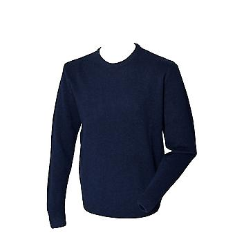 Henbury Mens Long Sleeve Crew Neck lambswool Knitted Sweater jumper Navy,Black