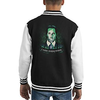 Addams Family Wednesday Addams I Hate Everyone Kid's Varsity Jacket