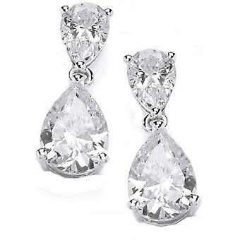 Cavendish French Double Delight Teardrop Earrings - Silver