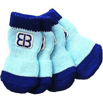 Petego Traction Control Indoor Socks For Dogs 4/Pkg-Small Blue/Light Blue