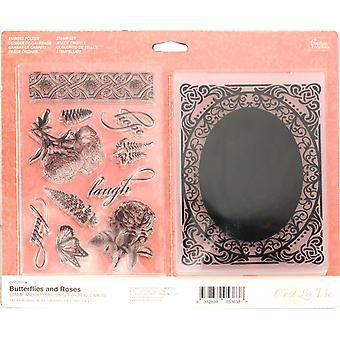 Couture Creations Stamp & Embossing Set-Butterflies & Roses