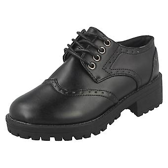 Girls Spot On Mid Chunky Heel Brogue School Shoes H3071