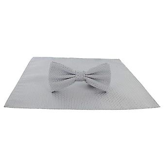 Michelsons of London Semi Plain Bow Tie and Pocket Square Set - Silver