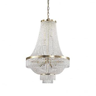Ideal Lux Augustus 12 Bulb Gold Waterfall Crystal Chandelier