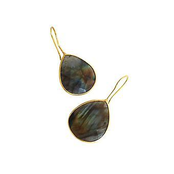 Gemshine - Boucles d'oreilles Pour Femmes - 925 Argent - Gold Plated - Labradorite - Gris