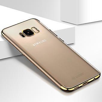 Handy Hülle Schutz Case für Samsung Galaxy S6 Edge Durchsichtig Transparent Gold
