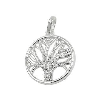Pendant 15mm tree of life Zircons Silver 925
