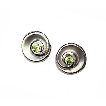 Cavendish French Silver and Peridot Green CZ Swirl Earrings