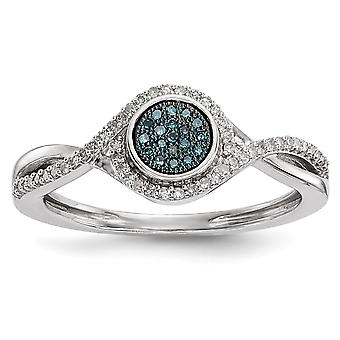 925 Sterling Silver Open back Gift Boxed Rhodium-plated and Blue And White Diamond Ring - Ring Size: 7 to 8