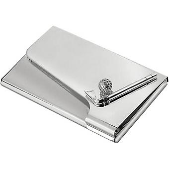 David Van Hagen Silver Plated Golf Business Card Case - Black