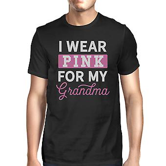 I Wear Pink For My Grandma Mens Breast Cancer Support Shirt Black