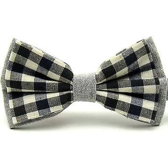 Black & Navy Blue Check Vintage Style Bow Tie