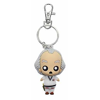 Back to the future key fob Doc Brown printed plastic, including mini carabiner.