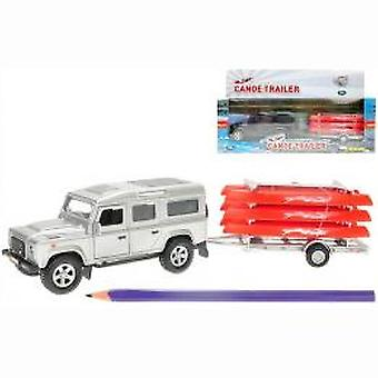 Die Cast pull back ' land rover + canoe trail