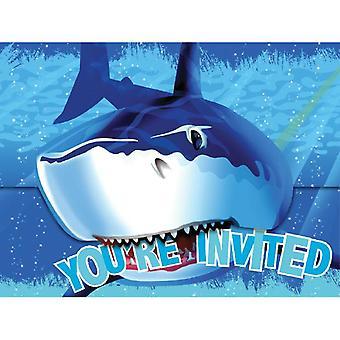 Haai haai partij uitnodigingen met enveloppen 8 stuk haai haai verjaardag Feestdecoratie