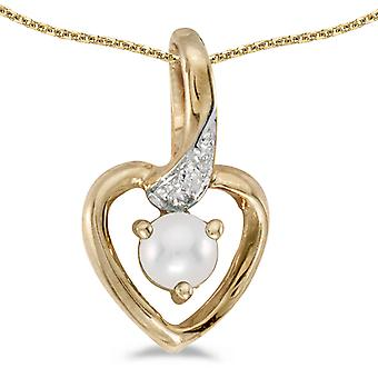 14k Yellow Gold Freshwater Cultured Pearl And Diamond Heart Pendant with 18