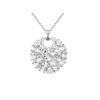 Necklace Rhodium and Cubic Zirconia white plate