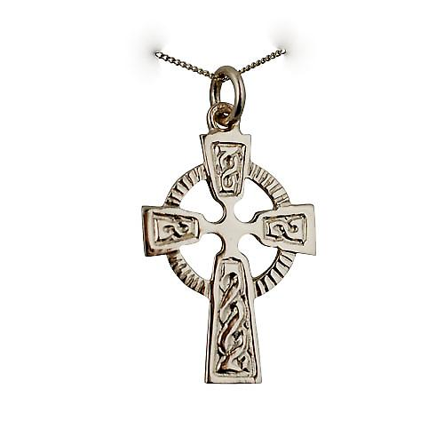 9ct Gold 28x19mm embossed Celtic pattern Cross with a curb Chain 16 inches Only Suitable for Children