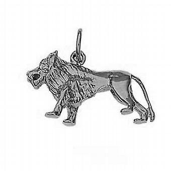 Silver 15x23mm solid Lion Pendant or Charm