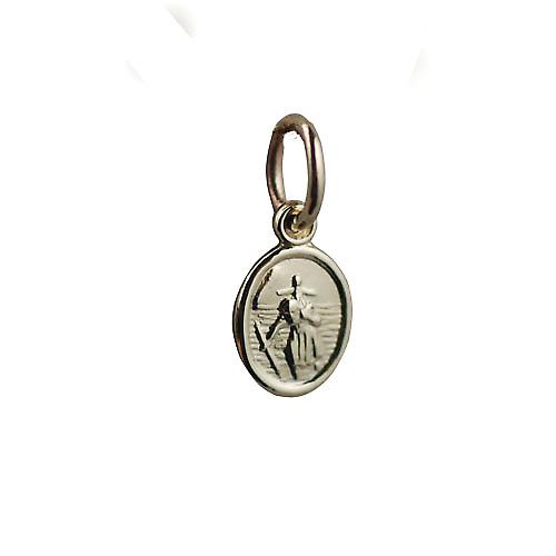 9ct Gold 8x6mm oval St Christopher Pendant or Charm